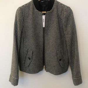Jcrew houndstooth bomber jacket NWT small